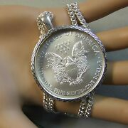 New Sterling Silver Bullion Diamond Cut Pendant And Chain For One Oz Eagle Coin
