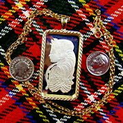 9ct Gold New Bullion Lady Luck Pendant And Chain With One Ounce Fine Silver Ingot
