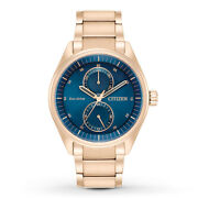 Citizen Eco-drive Menand039s Paradex Dark Blue Dial Rose Gold 43mm Watch Bu3013-53l