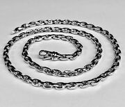 10k Solid White Gold Handmade Cable Rolo Link Chain/necklace 22 55 Grams 5.2 Mm