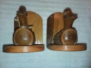 Antique Vintage Duck Decoy Bookends Hand Carved Wooden Wood Hunting Book Mallard