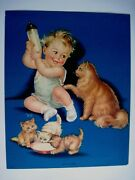 Adorable Vintage Print By Charlotte Becker Baby And Bottle And Kittens