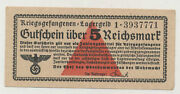 Germany 5 Reichmark 1939 Wwii Lagergeld Pick Nl Xf+/aunc Banknote Circulated 771