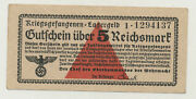Germany 5 Reichsmark 1939 Wwii Lagergeld Pick Nl Xf Banknote Circulated 137