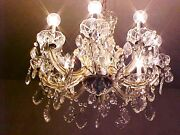 Gorgeous Old 40and039s 8 Lites Hollywood Regency French Leadcrystal Chandelier Huge