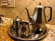 Reed Barton Tall Coffee Set Stainless Art Deco Cool