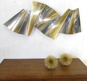 Famous C. Jere Huge Pleated Chrome Brass Sculpture 46 Long Signed Rare