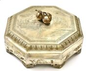 Old Chinese White Copper Brass Paktong Sweetmeat Box Silver Pomegranate Finial