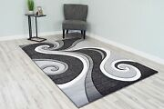 Premium 3d Effect Hand Carved Thick Modern Contemporary Abstract Area Rug Design