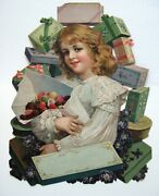 Large Rare Sample Advertising Die Cut Calendar W/ Girl, Candies And Boxes