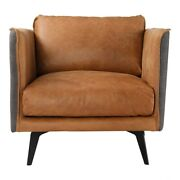 32.5 W Leather Arm Chair Top Grain Leather Fabric Wrapped Frame Iron Legs