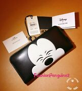 💝 Coach X Disney 75th Squinting Mickey Mouse Accordion Zip Wallet F54000 Ltd Ed