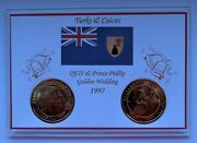 1997 - Turks And Caicos Five Crowns Qe Ii Golden Wedding Two Coin Set