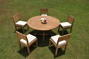 Dsvr A-grade Teak 6pc Dining Set 60 Round Table 5 Armless Chair Outdoor Patio