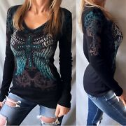 Vocal Black Teal Embellished Cross Wing Graphic Stitch Ribbed Thermal Biker Top