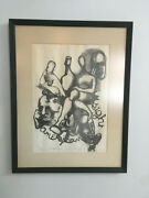 Vintage Mid Century Abstract Print Figural Lithograph- Titled, Signed, Numbered