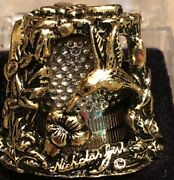 Thimble Gold-plated Pewter Carousel Nicholas Gish And Signed Hummingbird-go-round