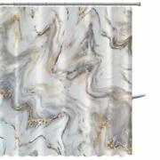 White Grey Beige Marble Pattern / Oyster Shell Bathroom Fabric Shower Curtain