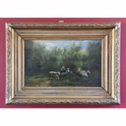 Stunning Antique Oil On Board Summer Landscape Painting, Sheep And Children