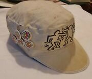 Keith Haring Memorabilia 1980and039s - Kh World Tour Painters Cap From Kh