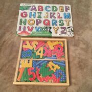 Melissa And Doug Alphabet Puzzle And Wooden Letters And Numbers Set Of 63 Magnets