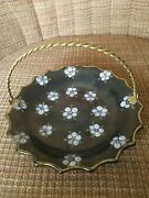 Gouda Tiko 79 Holland Pottery Ceramic Bowl With Brass Handle- Vintage - Gilded
