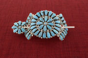 Turquoise Cluster Ponytail Holder With Stick Pin By Navajo Artist Zeita Begay
