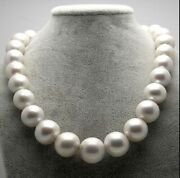 Huge 1812-15mm Natural South Sea Genuine White Round Pearl Necklace Uz56aa