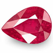 Igi Certified Burma Ruby 1.31 Cts Natural Untreated Deep Pinkish Red Pear