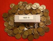 1923-s Lincoln Wheat Cent Penny 50 Coin Roll G-vf Great Collector Coins