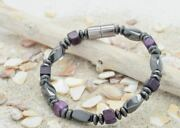 Womenand039s Purple Agate Magnetic Bracelet Increases Circulation Made In Usa