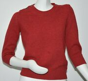 2200 New Sweater 6 Cc Buttons Sweater Pure Cashmere Red Pullover 38 40