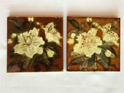 2 Antique Oriental Lily Wade And Co Glazed 6 Ceramic Tiles Staffordshire, England