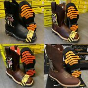 Menand039s Square Steel Toe Work Boots Genuine Soft Leather Cowboy Pull On Botas