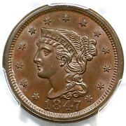 1847 N-24 Pcgs Ms 64 Bn Cac Braided Hair Large Cent Coin 1c