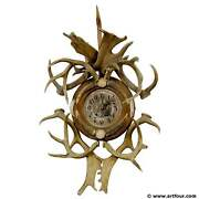 Rustic Black Forest Cabin Decor Antler Wall Clock Germany Ca. 1900