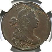 1802 S-242 Ngc Vf 25 Eds Draped Bust Large Cent Coin 1c