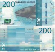 Norway 200 Kroner Banknote World Paper Money Currency Pick P55 2017 Fish Cod