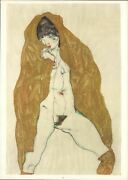 Upright Nude With Spread Legs And Yellow-brown Shawl,1914 By Egon Schiele-14x20