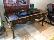 Antique Ornate French Louis Xv Leather Top Writing Desk With Bronze And Hand Pai