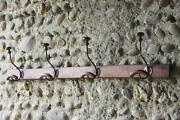 French Country Farmhouse Antique Coat Hook Hat Rack 4 Pegs Primitive Country