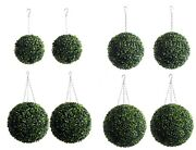 Best Artificial Pair Of Green Boxwood Buxus Topiary Ball Grass Hanging Garden