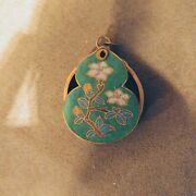 Vintage Chinese Green Floral Cloisonne On Brass Pocket Magnifying Glass