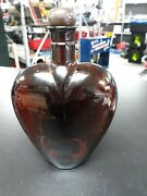 Vintage Paul Masson Brown Pressed Glass Decanter Bottle Heart-shaped