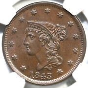 1843 N-8 R-3 Ngc Ms 64 Bn Petite Head Sm Let Braided Hair Large Cent Coin 1c