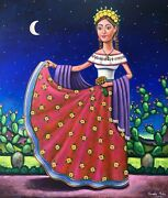 Beautiful Mexican Traditional Dress Lady Painting By Mexican Artist German Rubio