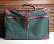 Jw Hulme Travel Luggage Suitcase Green Canvas Brown Leather Made In Usa
