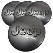 Charcoal Center Caps With Jeep Logo For 2017 Jeep Grand Cherokee 2.5 [set Of 4]