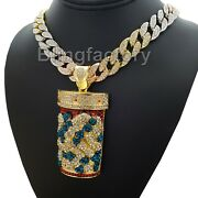 Hip Hop Pill Bottle And 18 Iced Multi Colored Cuban Choker Chain Fashion Necklace