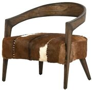30 W Arm Chair Round Wooden Frame Hide On Hair Leather Seat Exposed Stitching